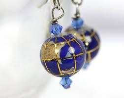 earrings world blue globe earrings handmade lapis lazuli earrings globe