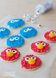 cookie monster and elmo cookies perfect for a sesame street birthday