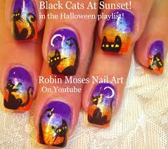 spooky diy halloween black cat at sunset nail art design tutorial