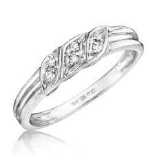 1 4 carat diamond trio wedding ring set 14k white gold