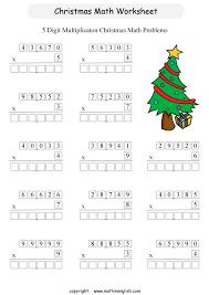 printable christmas multiplication worksheet for grade 5