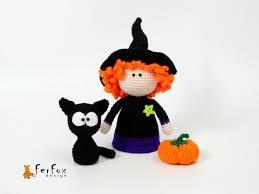 Miniature Halloween Ornaments by Witch Doll Black Cat Pumpkin Halloween Decor Witch Figurine