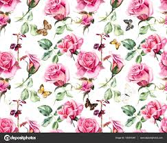 roses and butterflies seamless rosebush stock photo budogosh