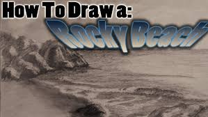 how to draw a realistic rocky beach scene youtube