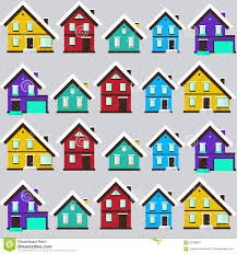 House Flat Design by Vector Winter Landscape Flat Design Seamless Pattern With House