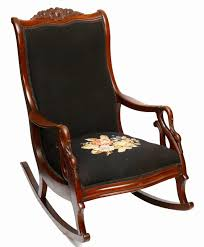 Victorian Upholstered Chair Antique Gooseneck Carved Rocking Chair With Needlepoint Upholstery