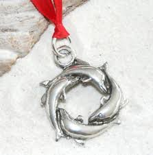 Dolphin Circle Surfer Pewter Christmas Ornament Holiday Ebay
