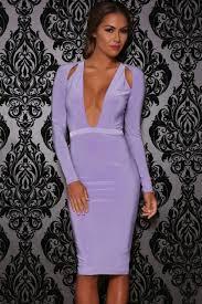 light purple long dress light purple plunge v neck cut out party dress 020969 long sleeve