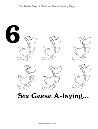 12 days of christmas six geese a laying coloring page http www
