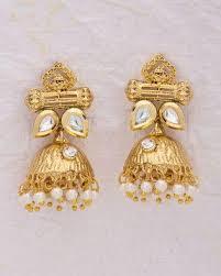 jhumki style earrings buy kundan encrusted jhumki style earrings online in india at