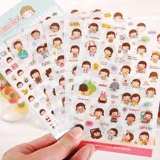6 sheets pvc cartoon korean girl diary planner stickers biscuits see larger image