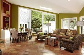 Tiled Living Room Floor Ideas Designs Ideas Warm Living Room With Brown Sofa And Trunk Coffee