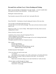 brian tracy notes on power reading and writing speed reading