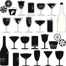 champagne silhouette vector silhouette glasses bottles cocktails isolated on white