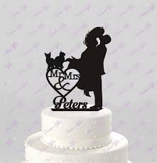 cat cake topper wedding cake topper silhouette mr mrs personalized