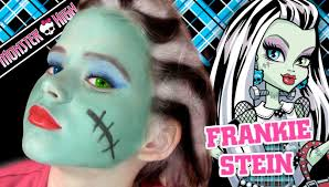 Monster High Halloween Dress Up by Frankie Stein Monster High Doll Costume Makeup Tutorial For
