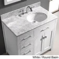 white marble stone top bathroom single sink vanity left side sink