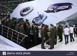 the mazda members of a russian military choir visit the u0027mazda u0027 stand at the