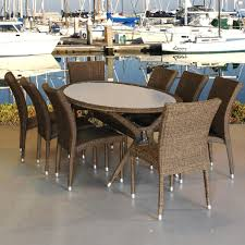 Synthetic Wood Patio Furniture by Patio 8 Person Outdoor Dining Cast Aluminum Set Metal Patio