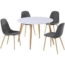 table et 4 chaises lot de 4 chaises scandinaves gao tissu gris