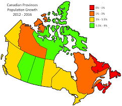 Canada Population Density Map by Canadian Provinces Population Growth 2012 2016 Canada