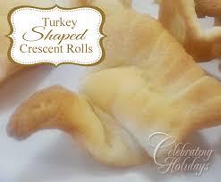 turkey shaped crescent rolls celebrating holidays