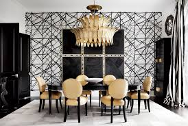 houston s own hollywood house this design star keeps things dining room wallpaper by kelly wearstler antique venetian glass chandelier lacquered french cabinets and table from shabby slips vintage french chairs