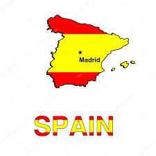 spain map in the form of the spanish flag vector illustration