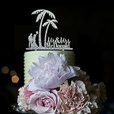 amazon com beach palm tree wedding cake toppers bride and groom