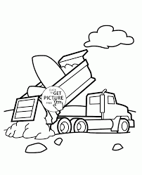 dump truck unloading coloring page for kids transportation