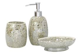 Bathrooms Accessories Uk by 3pc Modern Mercury Sparkle Mosaic Glass Tile Bathroom Accessory