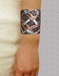 wrist cuff bracelet images Unisex mixed metal statement wrist cuff custom silver patches jpg