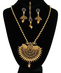 chain pendant necklace images Indian 22k gold plated bridal necklace chain pendant earrings set jpg