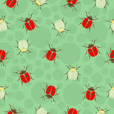 ladybug wrapping paper ladybug beetles in peas and striped seamless pattern insects