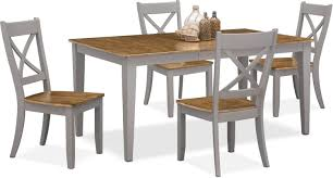 nantucket table and 4 x back chairs oak and gray value city hover to zoom