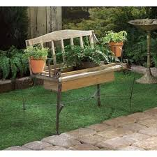 Wholesale Benches Rustic Iron Wood Bench Chair Planter Box Plant Stand Country