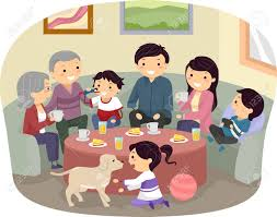 stickman illustration of a complete family gathering stock photo