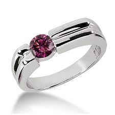 Pink Diamond Wedding Rings by 0 62ct Off Centered Vs1 Purple Pink Diamond Men U0027s Solitaire Ring