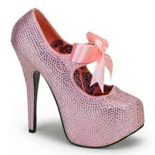 ribbon heels 04r 5 3 4 heel rhinestone platform with ribbon in baby pink