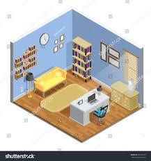 study room isometric concept table sofa stock vector 500152225