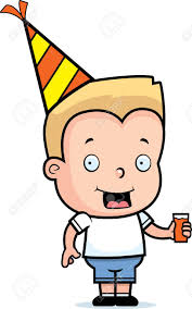 birthday drink a happy cartoon birthday boy with a hat and drink royalty free