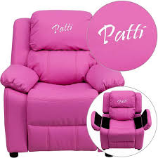 Kids Personalized Chairs Personalized Deluxe Pink Vinyl Kids Recliner Bt 7985 Kid