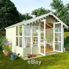 Garden Shed Summer House - garden wooden large summer house shed cabin overhang t u0026g 10x10 patio