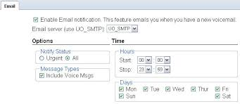 campus voicemail setting up email notification uo information