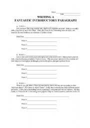 english worksheets writing a fantastic introductory paragraph