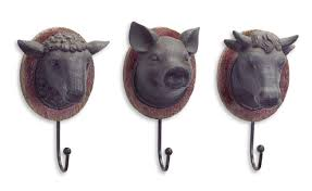 melrose intl 3 piece cow pig sheep wall hook set u0026 reviews wayfair
