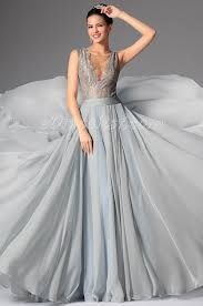 2014 new bluish grey deep v neck embroidered lace formal gown