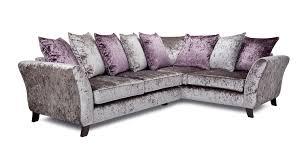 Purple Corner Sofas Maie Left Hand Facing 2 Seater Pillow Back Corner Sofa Krystal Dfs