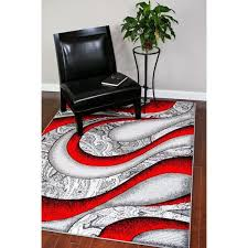 Graphic Area Rugs 4616 Collection Grey White Black Polypropylene Graphic