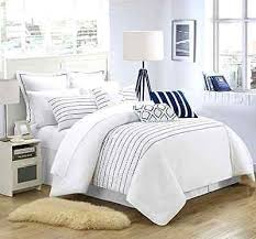 Striped Comforter 9 Pc Modern White Blue Comforter Set Queen Bed Size Embroidery